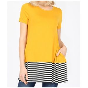 "NEW ""Laura"" striped and solid dark mustard tunic"